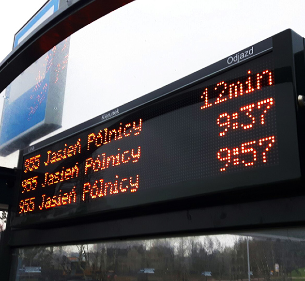 Bus shelter passenger information displays in Gdansk