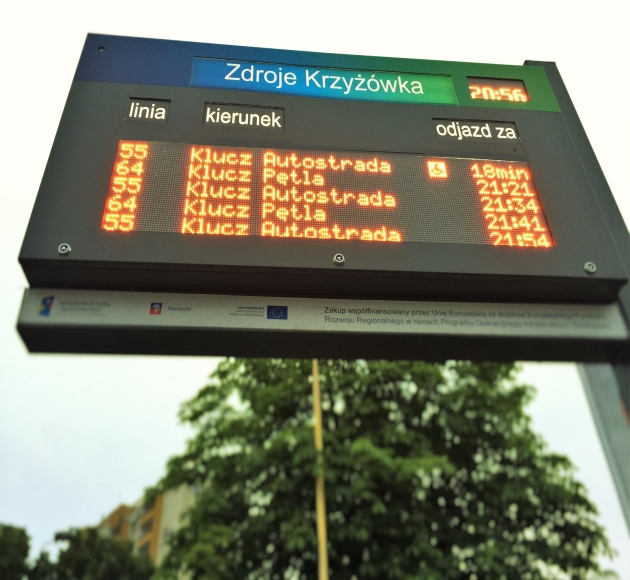 Deliveries and modernizations of passenger information displays in Szczecin